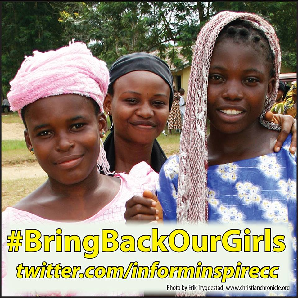"A poster promoting the social media campaign to ""Bring Back Our Girls."""