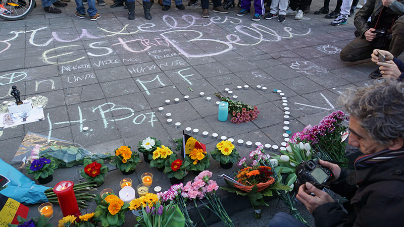 A memorial for victims of the March 22 terrorist attacks in Brussels