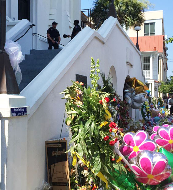 Memorial wreaths line the front of the Emanuel African Methodist Episcopal Church in Charleston