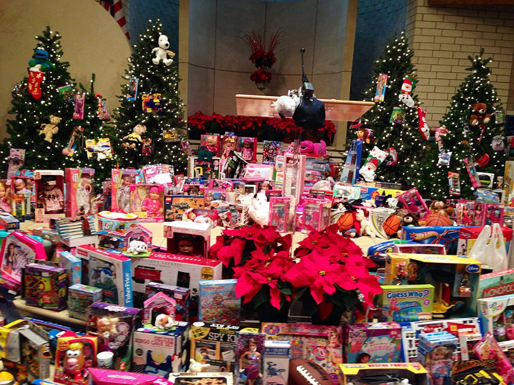Members of the Saturn Road Church of Christ packed the pulpit with toys for children in need.