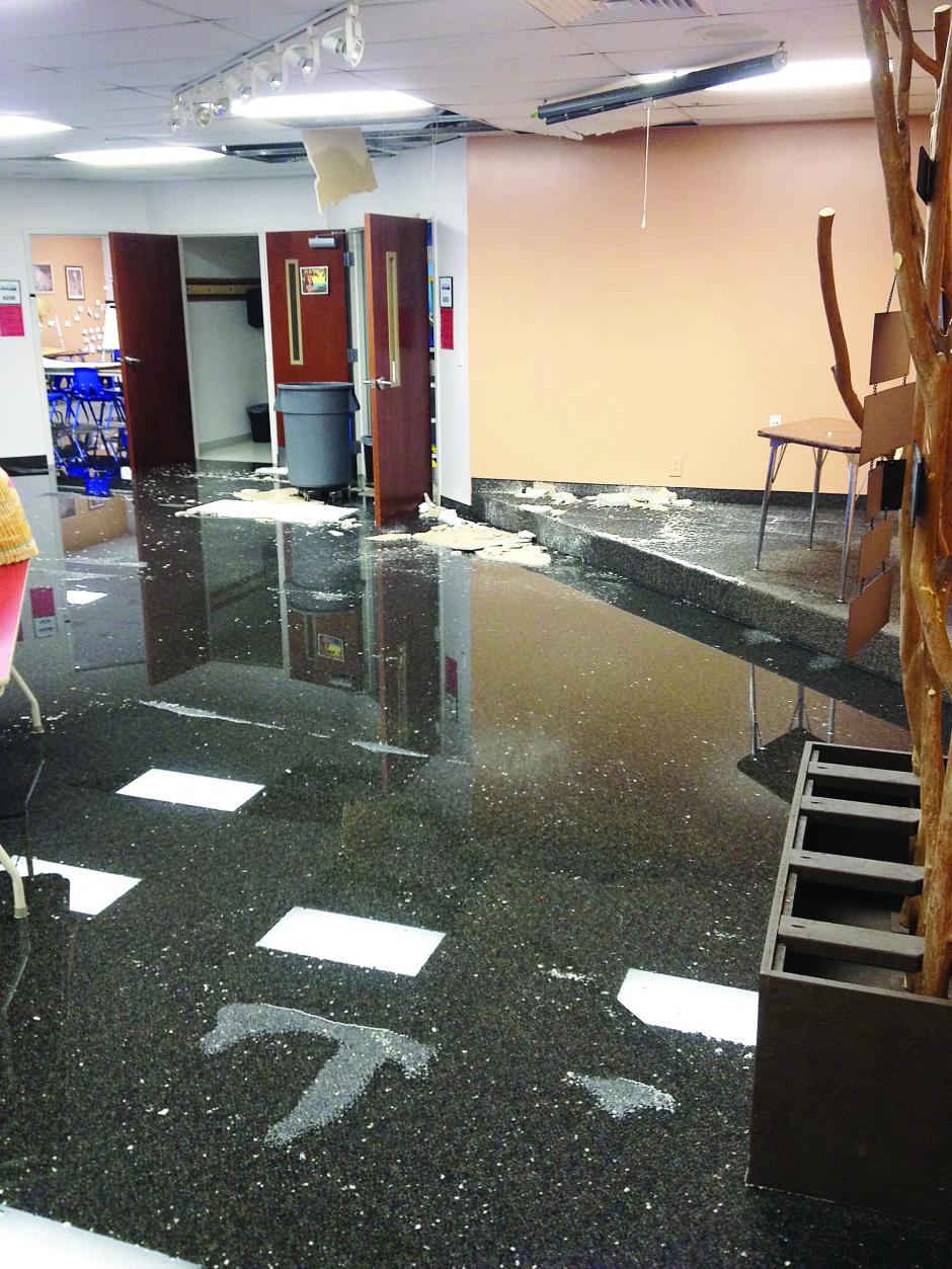 Flooded classrooms at the College Hills Church of Christ.