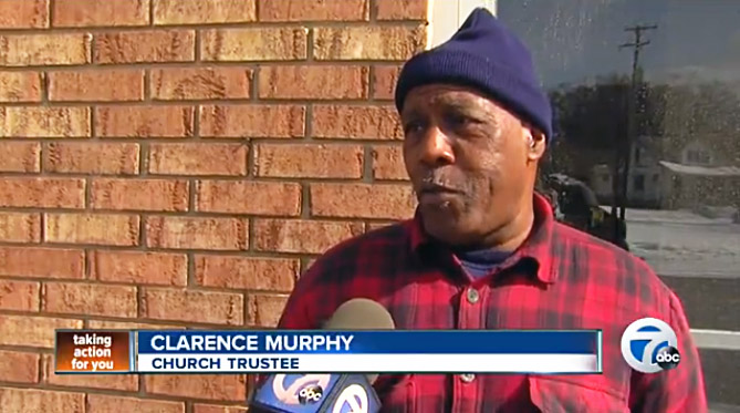 Clarence Murphy of the Church of Christ at Conant Gardens talks about the damage to his congregation's meeting place.