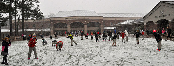 Students play in the snow at Greater Atlanta Christian School.