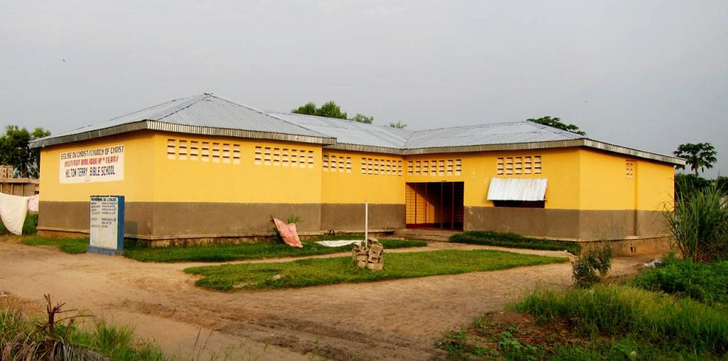 The main classroom and office building of the Hilton Terry Bible School of the Congo in Kinshasa