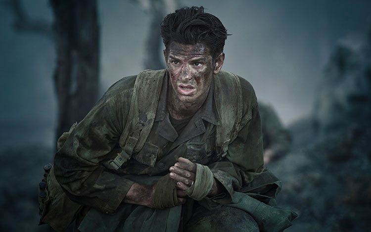 "Desmond Doss (Andrew Garfield) in ""Hacksaw Ridge."""