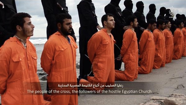 Islamic State terrorists prepare to execute 21 Coptic Christians kidnapped in Libya.
