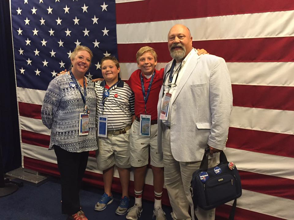 K.C. Grist pictured with her husband and sons at the Democratic National Convention.