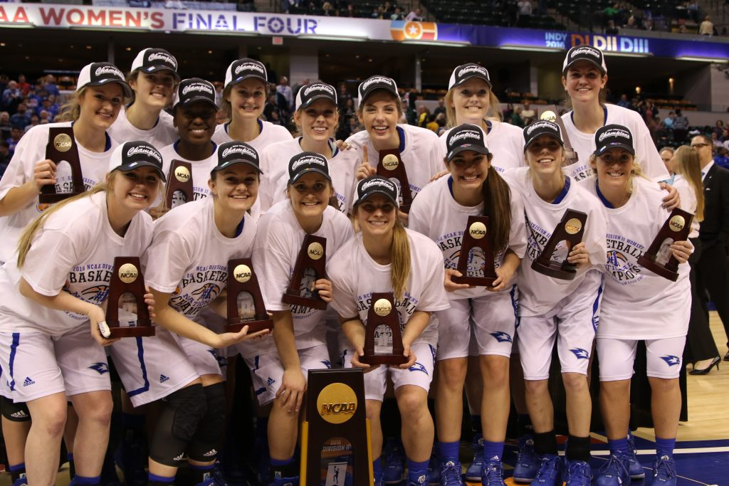 The Lady Chaparrals of Lubbock Christian University pose with the NCAA Division II championship trophy.
