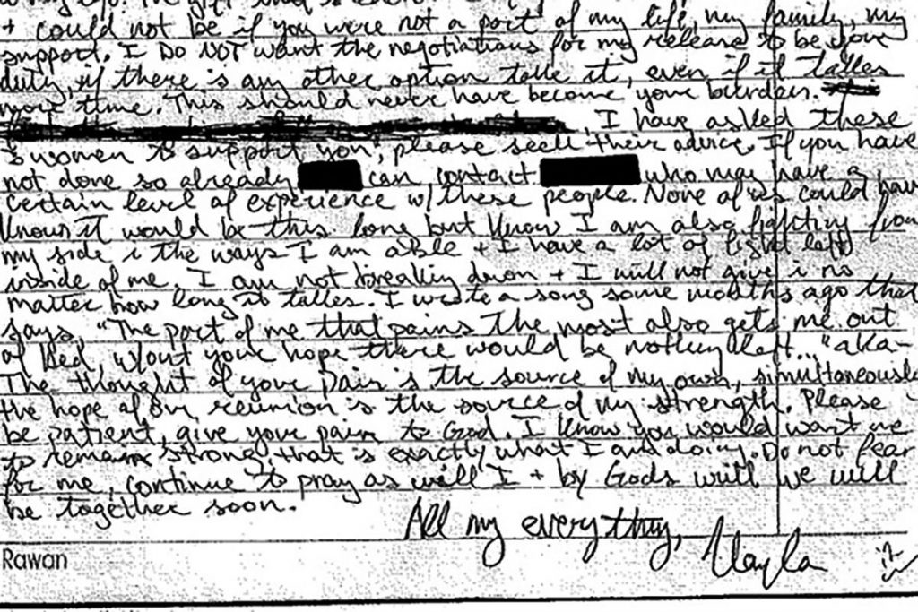 A portion of Kayla Mueller's handwritten letter to her family. The 26-year-old died in Syria as a captive of the Islamic State.