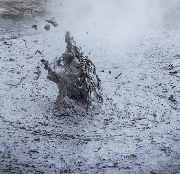 A pocket of super-heated air bursts through a mud pit at the Waiotapu Scenic Reserve