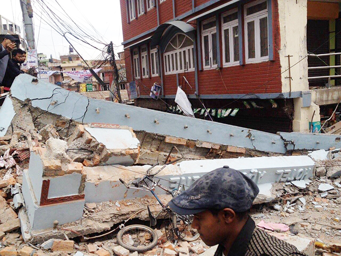 Aftermath of the April 25 earthquake in Nepal.
