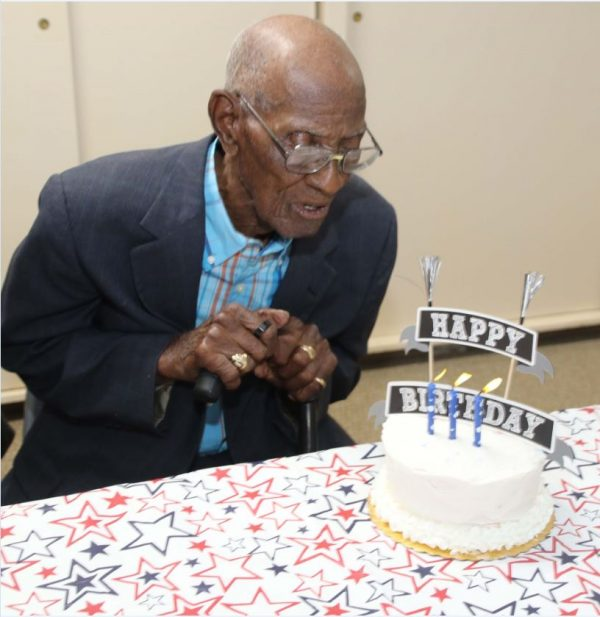 Richard Overton celebrates his 111th birthday in 2017.
