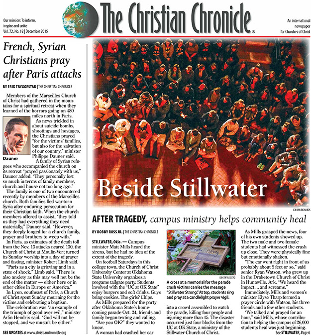 The front page of the December 2015 print edition.