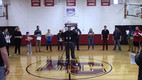 """The Rochester College chorus sings """"You Followed Love Home"""" written by Crystal Shields for her sister"""
