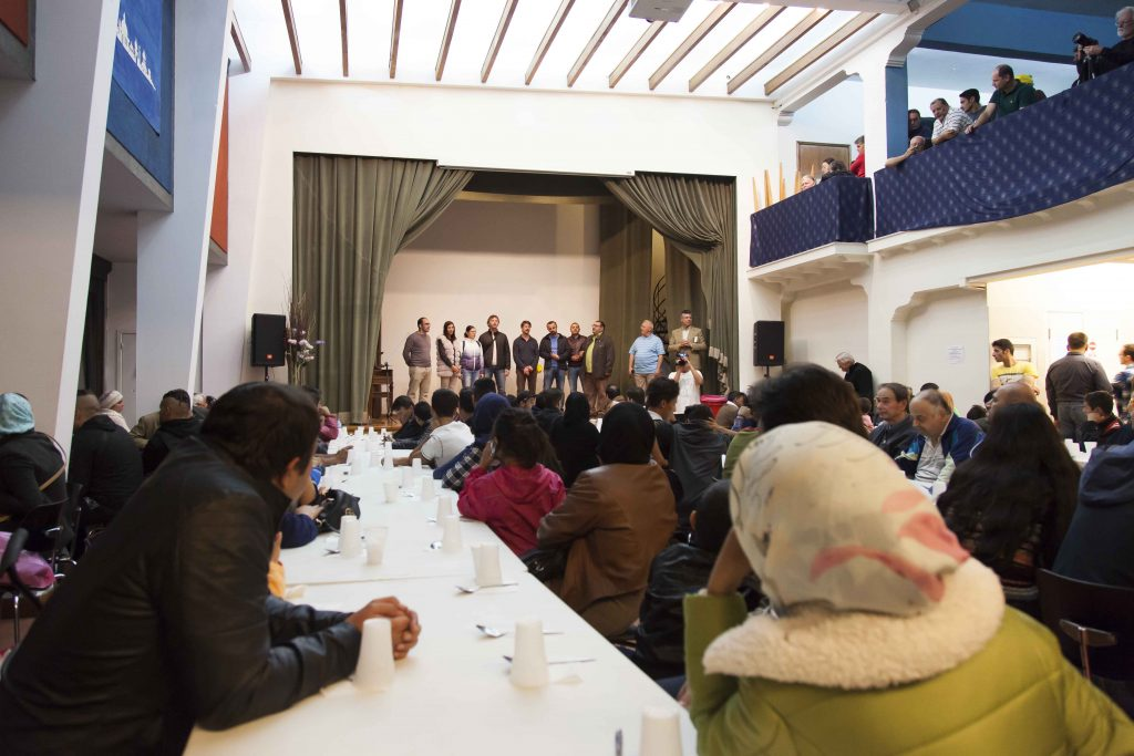 Christians representing Churches of Christ in Romania sing gospel songs in their native language at a facility in Athens