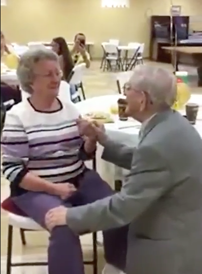 "91-year-old Harvey Wosika sings ""Let me call you sweetheart"" to his wife"
