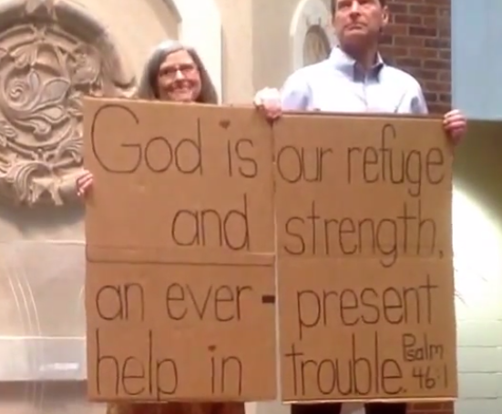 "Psalm 46:1 provides the ""cardboard testimonial"" for one couple."