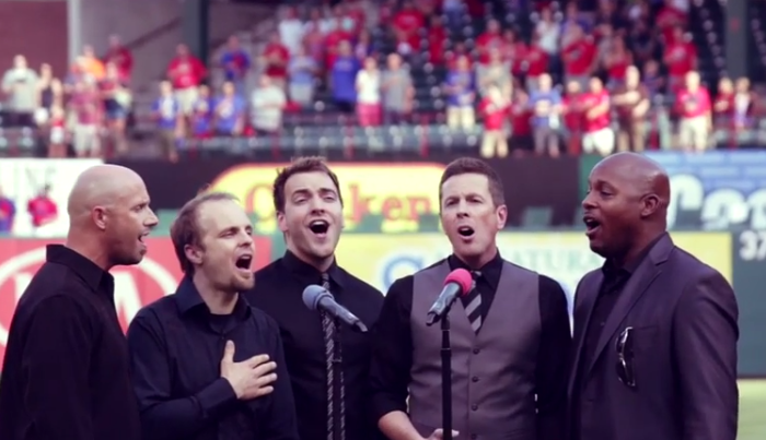 "Acappella sings ""The Star-Spangled Banner"" before Thursday night's Texas Rangers-Detroit Tigers baseball game in Arlington"