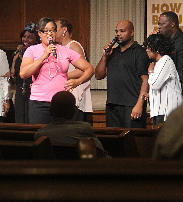 Terri Mays sings during a United in Christ Songfest in Oklahoma City on Aug. 12