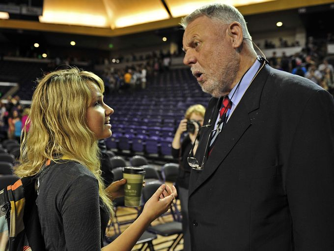Terry Waite talks with student Leah Gwin after speaking during an undergraduate chapel service at Lipscomb University's Allen Arena.