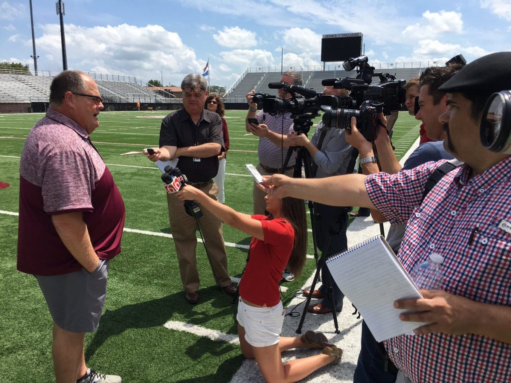 Allan Trimble speaks with the media just before the unveiling of the new stadium name.