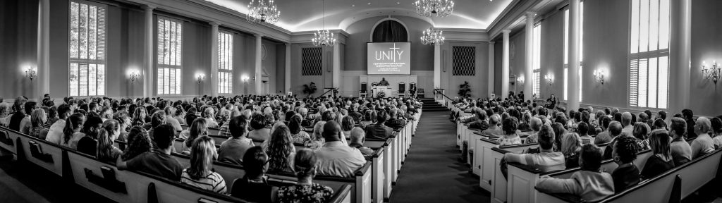 Members of the Southside Church of Christ gather with members of the Richmond Avenue Church of Christ in a unity service in Fort Worth