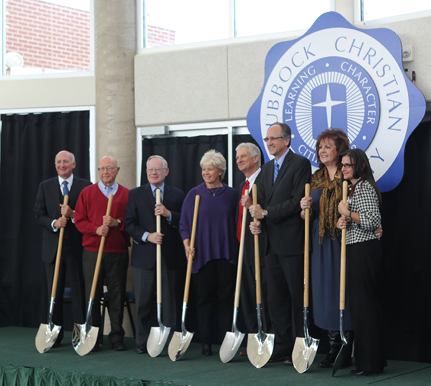 Donors and administrators break ground on the new nursing center at Lubbock Christian University in Texas.
