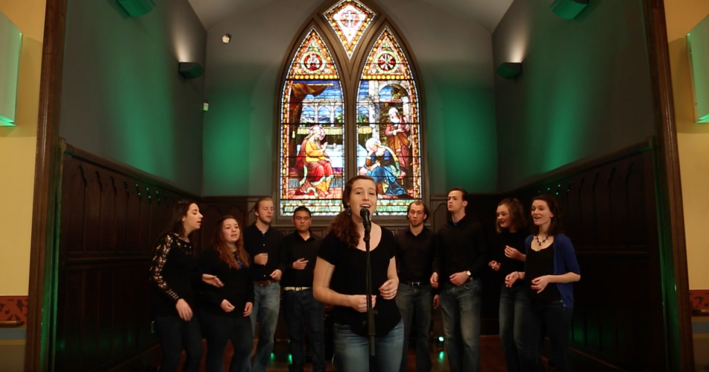 "Rachel Kraft solos during Vision A Cappella's cover of MercyMe's song ""Greater."""
