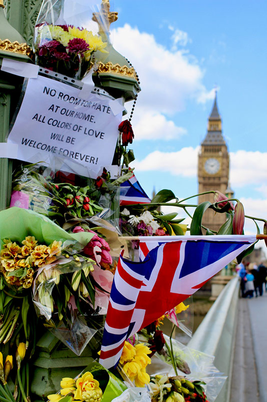 A display near Westminster Bridge in London after a terrorist attack in April. The United Kingdom has endured three terror attacks in as many months