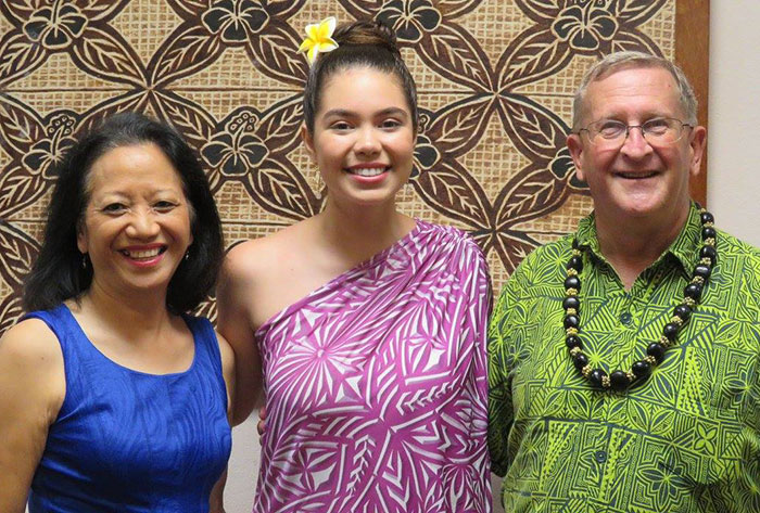 "Danna and David Willis with ""Moana"" star Auli'i Cravalho in American Samoa"