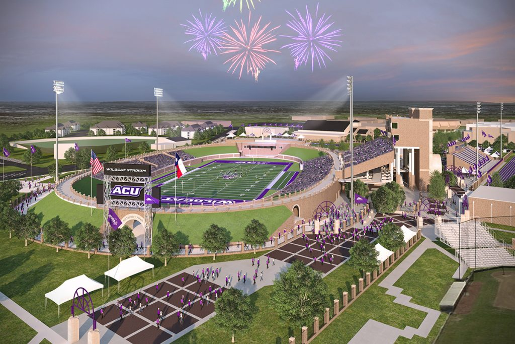An artist's rendering depicts plans for a new football stadium on the campus of Abilene Christian University in Texas.