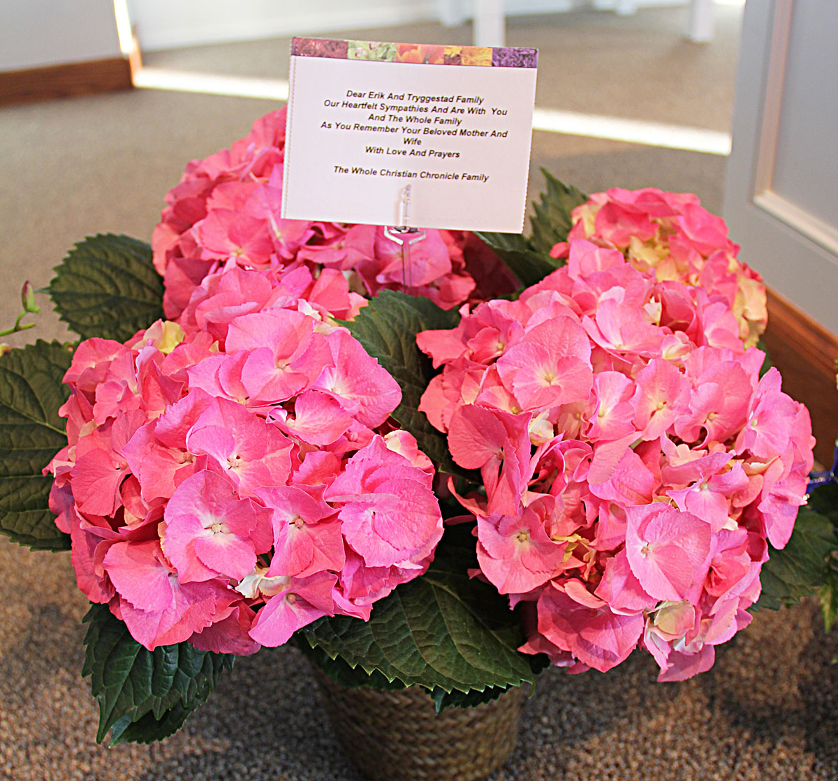 Flowers sent by The Christian Chronicle for Mom's memorial service. (Photo by Erik Tryggestad)