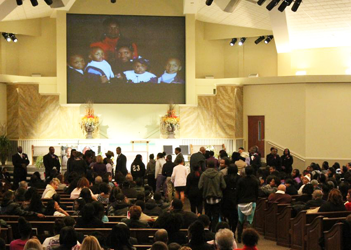 Family members and friends attend C'Asia Patton's funeral Jan. 13 at the College Hills Church of Christ in Lebanon