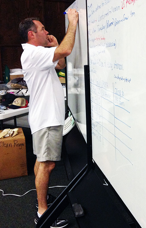 Joe Crawford, the Memorial Road Church of Christ's director of disaster relief, works to organize relief efforts.