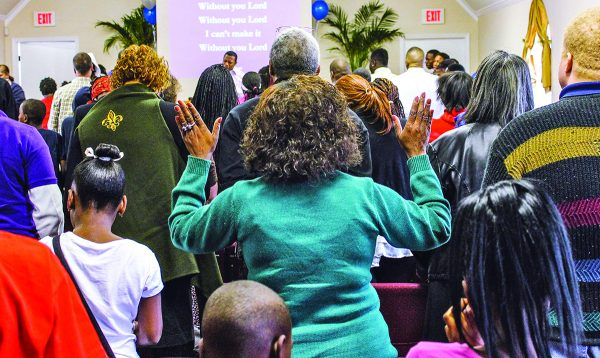 A worship assembly at the Hollygrove Church of Christ in January 2014.