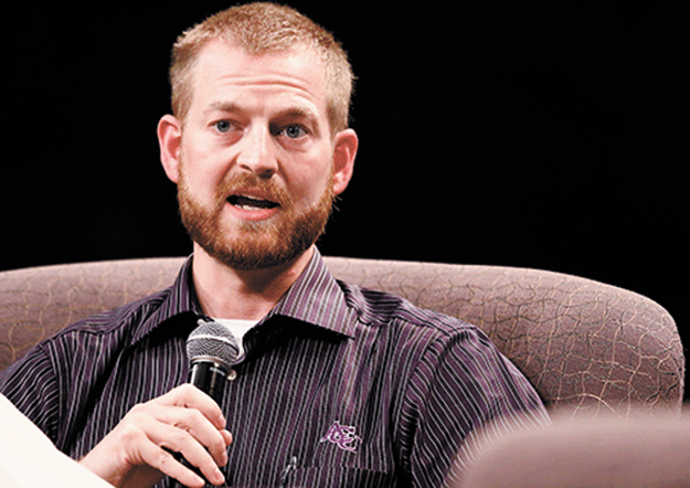 Dr. Kent Brantly speaks during an interview session at Abilene Christian University.