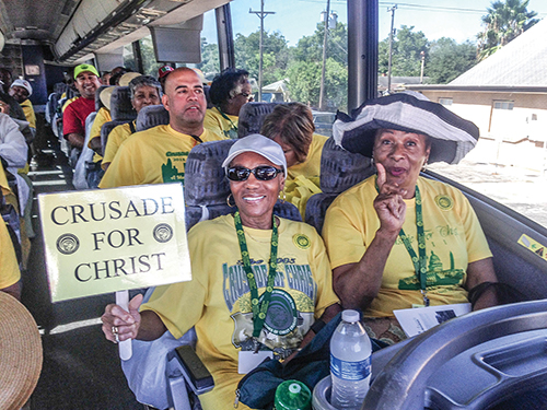 Participants in the 2015 Crusade for Christ prepare to knock doors in San Antonio.