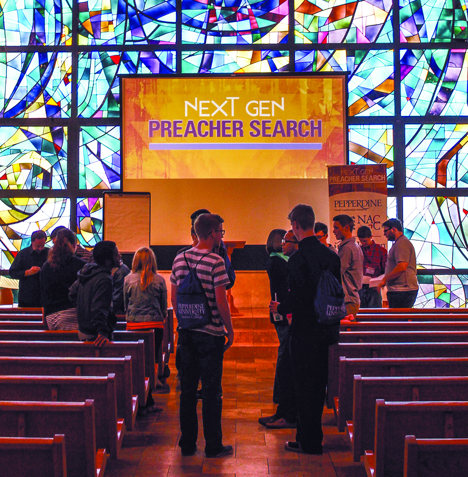 """Next Gen Preacher Search"" contestants and coaches enjoy fellowship as they gather for two days of training at Pepperdine University's Stauffer Chapel in Malibu"