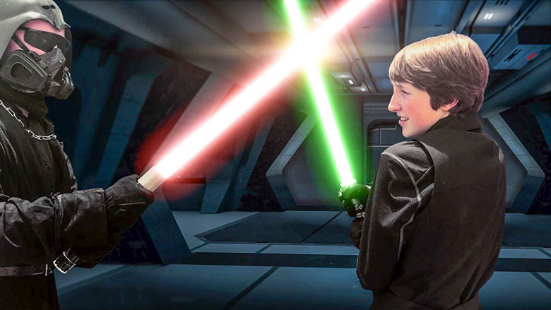"""REFUGE OF THE JEDI: Dark Lader (Jacob Bowles) and Connor (Josh Beaulieu) duel with lightsabers in """"Refuge of the Jedi"""