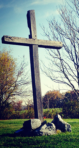 A cross behind the GracePointe Church of Christ in Elizabethtown