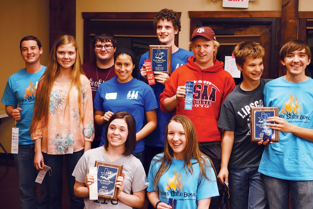 High school students celebrate their winning scores at the fourth annual Texas Bible Bowl.
