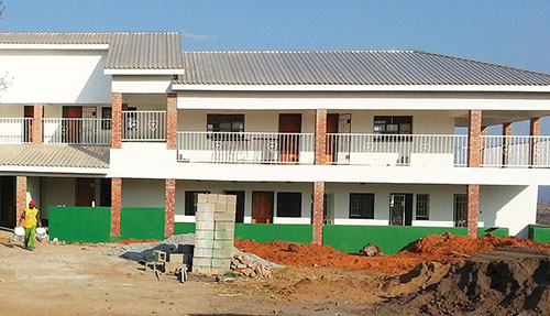 The nearly completed medical clinic.