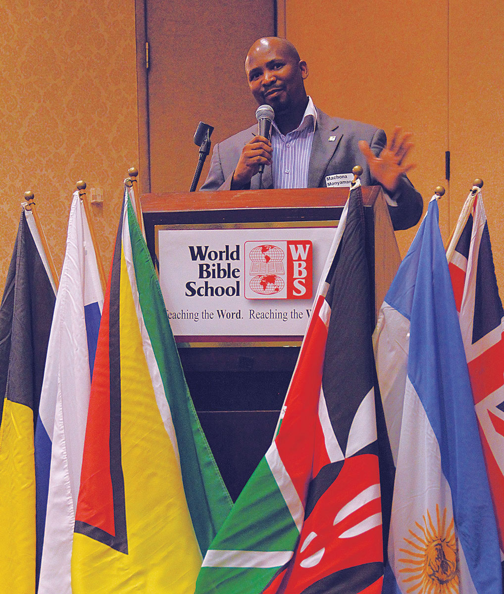 Machona Monyamane speaks during a World Bible School dinner in Oklahoma City.