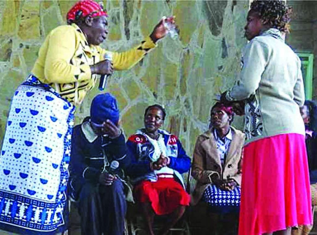 Christian women in Kenya perform a skit during the annual Jipe Moyo conference.