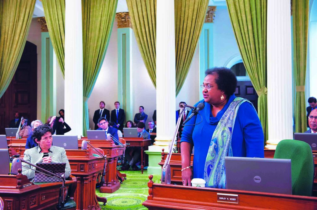 Shirley N. Weber speaks on the floor during a session of the California State Assembly.