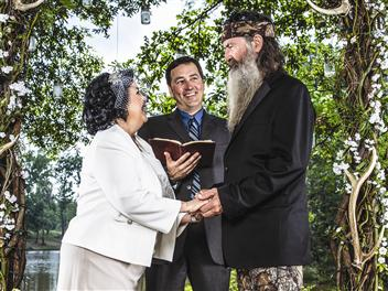 "Phil and Kay Robertson renew their wedding vows on an episode of ""Duck Dynasty."" Their minister son Alan — ""the beardless bro""— officiates the 2013 ceremony witnessed by millions of television viewers."