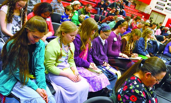 Church members pray during the annual lectureship, which began in 1964 in Anchorage. The 2015 lectureship will be next May in Fairbanks, hosted by the Northern Lights Church of Christ.