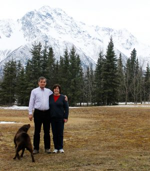 Glenn and Sally Smith, longtime members of the Valley Church of Christ, enjoy a picturesque view outside their Palmer, Alaska, home.