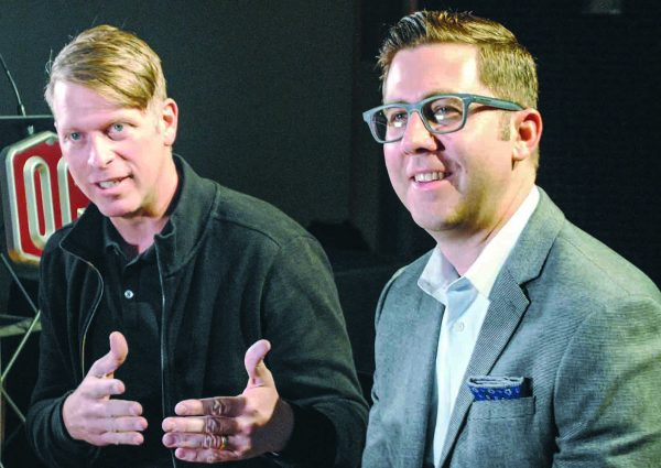 Gabe Lyons, left, and David Kinnaman talk with The Christian Chronicle about the decline in church attendance nationwide.