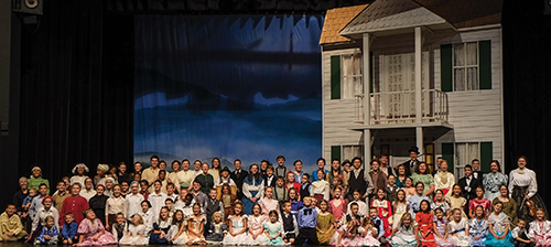 "The cast of ""Free At Last"" gathers onstage for a group photo at the Cookeville Performing Arts Center in Tennessee. The Homeschool Dramatic Society production featured more than 100 cast members. Written and directed by Mev McCurdy"